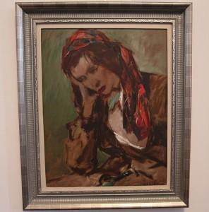 Sitzende Kirgisin, B. Heller, Öl auf Pappe, 49x38 cm
